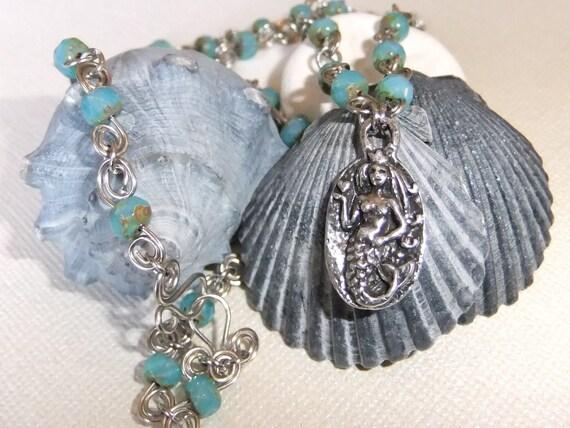 SALE Love Bravely Wirework Mermaid Necklace OOAK