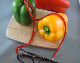 Red Bamboo Coral Beaded Eyeglass Necklace with Gold-Plated Findings (74)