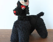Vintage Stuffed Animal Dog French Poodle 1940's 1950's Retro
