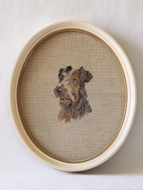 Vintage Needlepoint Dog Portrait