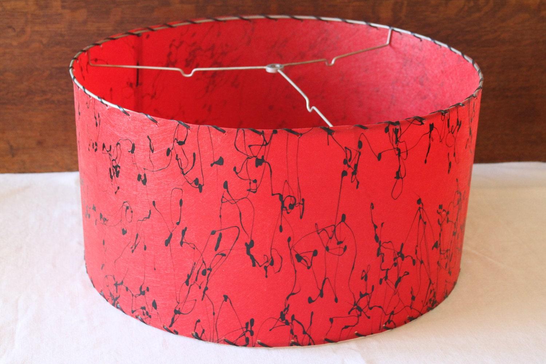 Mid Century Lamp Shade Large Red Fiberglass Lampshade Drum