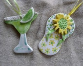 Flip Flop Margarita Ornaments - summer vacation beach -  handmade ceramic