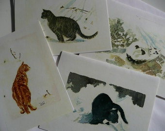 Notecards - Cats in the Snow - original artwork