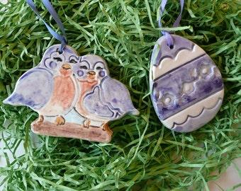 Easter Handmade Ceramic Ornaments - pair of bluebirds and blue/white egg