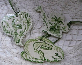 Handmade Ceramic  Ornaments - green and white garden