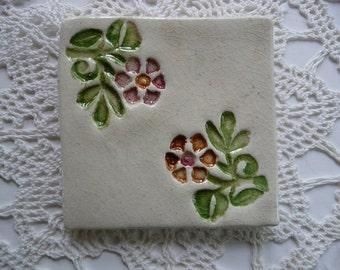 Handmade Ceramic Tile - Wood Block Flower Design