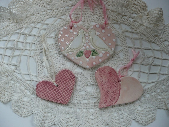 Handmade Ceramic Valentine Ornaments - dove heart, hearts