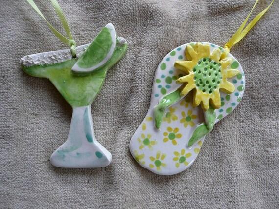 Flip Flop Margarita Ornaments - summer vacation beach -  handmade ceramic