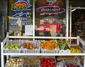 Storefront - fruit and Peroni stand in San Franciso - travel photography 8x10 fine art print - home decor