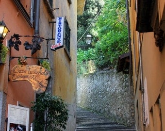 """Italy Photography, """"Bellagio Alley"""", Travel Photography, Architecture Photography, Customizable Sizes Upon Request"""