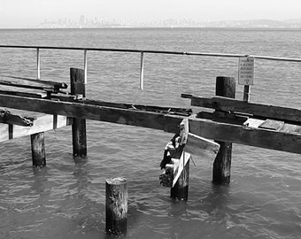 "San Francisco Photography, ""Brokedown Pier"", Black and White Photo, Travel Photography, Wall Art, Customizable Print Sizes"