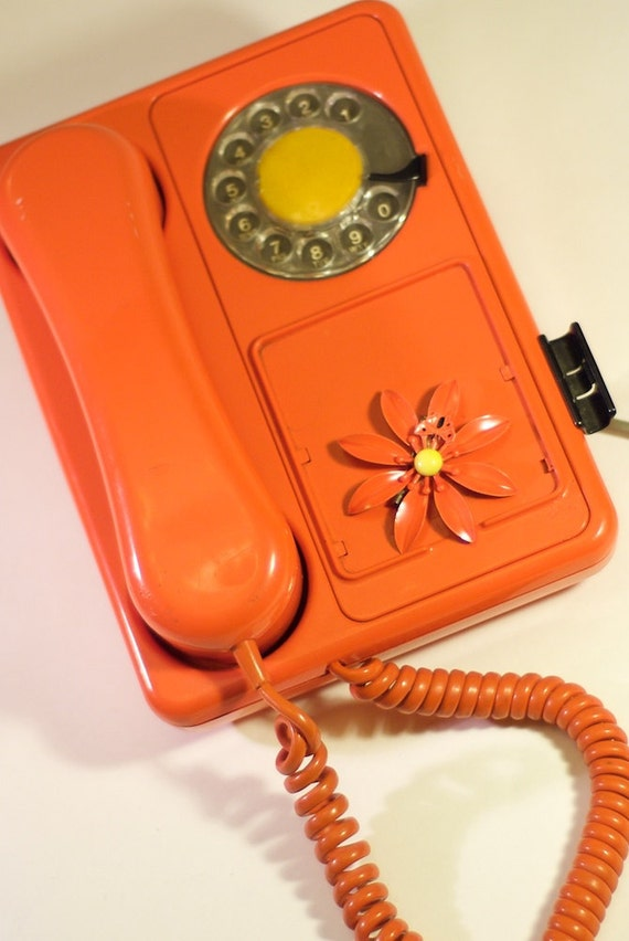 Retro Orange Dial Telephone and One Retro Orange Flower Costume Jewelry Pin