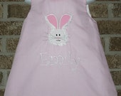 Spring Custom Boutique Personalized Monogram Applique Fuzzy Easter Bunny Pink A-line Dress Bows Free Hairbow myladybugcreations