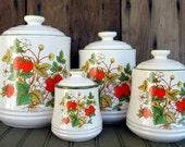 Vintage Strawberry Canister Set Japan Retro Ceramic Set Kitchen Decor Storage Avocado Green Red Yellow