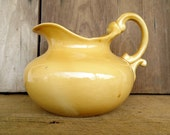 Vintage Yellow Pitcher Vase Pottery Gold Fall Autumn Harvest Style Home Decor
