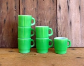 Vintage Coffee Mugs Cups Green Anchor Hocking Set of 6 Glass Stackable Kitchen Retro Home Decor