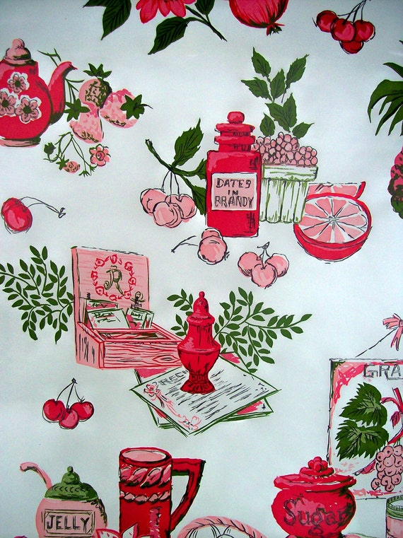 Vintage Contact Paper Fruit Shelf Liner By Thesquirrelcottage