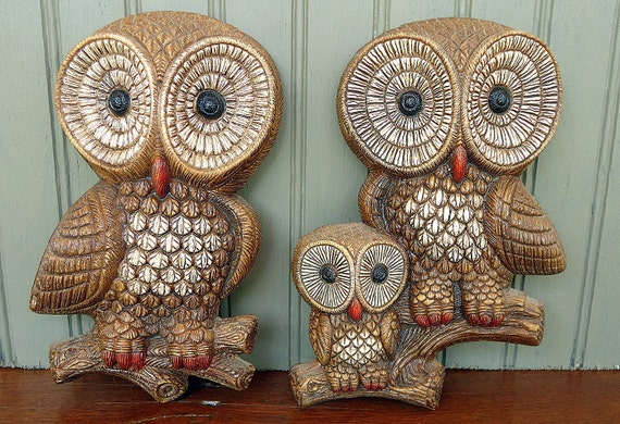 Vintage Owl Plaques Owls Wall Hanging Family Fall Autumn