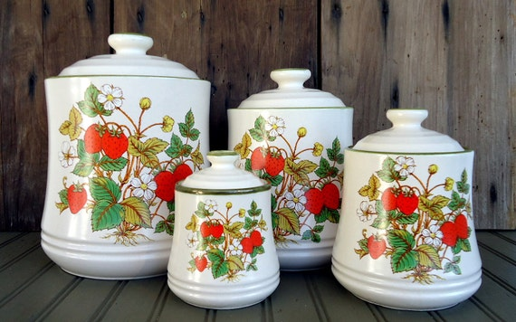 Vintage Strawberry Canister Set Japan Retro Ceramic Set Kitchen Decor Storage Avocado Green Red Yellow