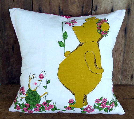 Winnie Pooh Pillow Bear Classic Cover Vintage Fabric Piglet Child Kids Children Bedding Nursery Baby Reversible Pink Polka Dot
