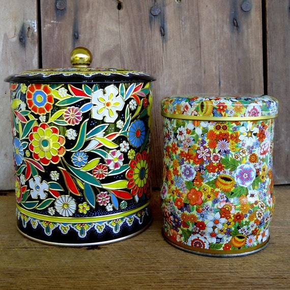 Kitchen Storage Container Vintage Floral Tin By
