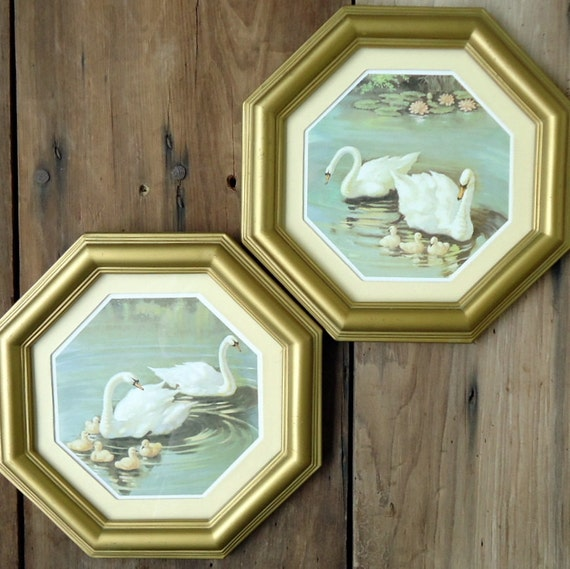Vintage Swan Art Framed Print Octagonal By Thesquirrelcottage