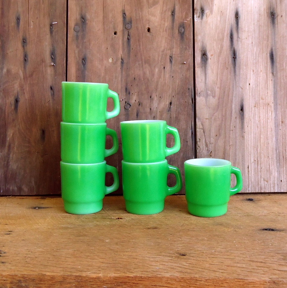 Vintage Coffee Mugs Cups Green Anchor By Thesquirrelcottage
