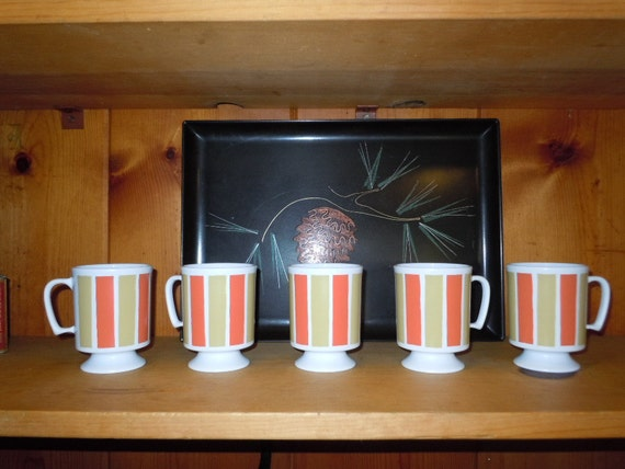 SALE* Vintage 70's Set of 5 Plastic Coffee Mugs Orange-Gold and White-Camping-Pool Side