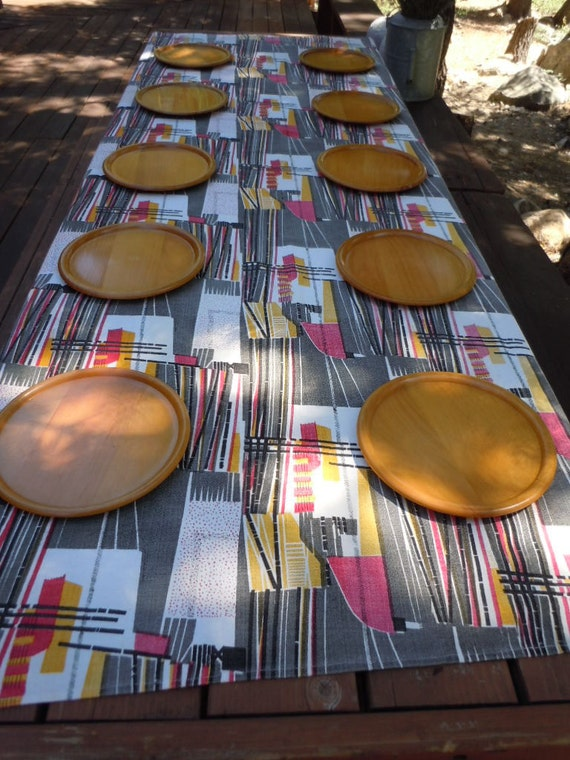 """Vintage 70's  Wood Plates Hand Turned -Camping- Travel- Bar-be-Que Set  of 10  Plates 9"""" Round"""