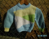 Blue/Yellow/Green/White Baby Sweater - Ready to Ship - Summer - June - Newborn