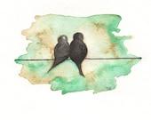 Love Birds on a Wire, birds watercolor, bird art, Watercolor print, watercolor birds