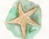 Starfish/ watercolor print/teal/light green/Archival Print