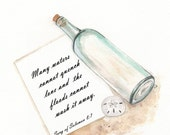 Message in a bottle Personalized/Sand dollar/ watercolor print/sand/beige/tan/sea/ocean life/beach cottage decor