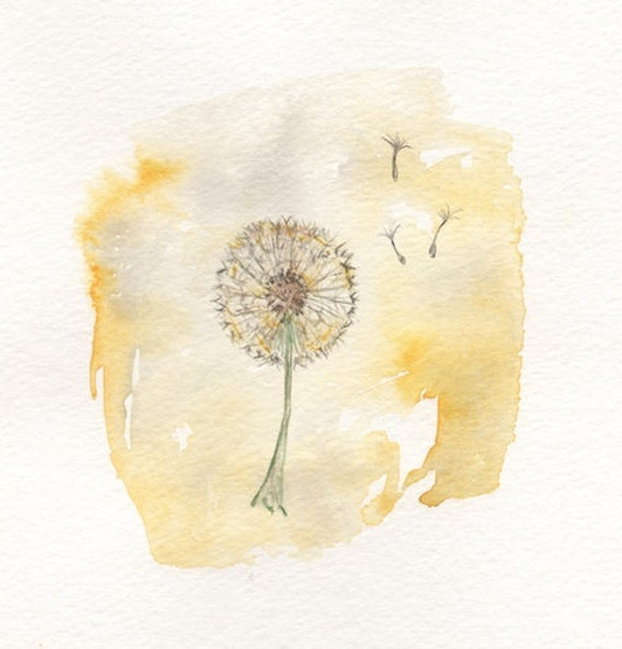 Just Dandy/Dandelion yellow/5x7/Watercolor Print/Grey and Yellow/Gray and Yellow