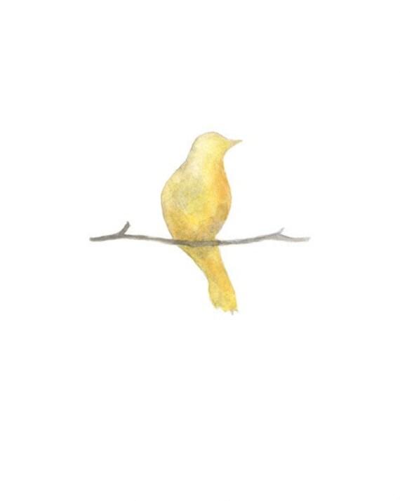 Serenity bird yellow / Shabby Chic / Minimal Chic / Wall Art / Archival Watercolor Print