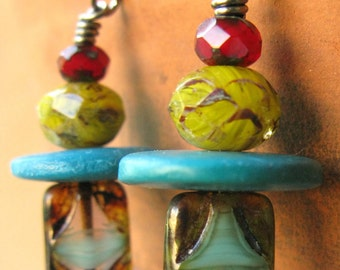 Christmas in July Red, yellow and turquoise earrings, hostess gift under 25, southwest colors