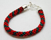 Kumihimo Braided Bracelet in Red and Green by JKAlvarez