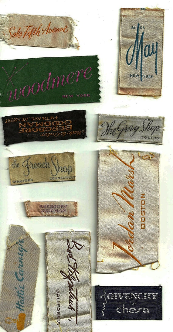 Vintage Designer Clothes Labels Set 45 By Junquecouturehome