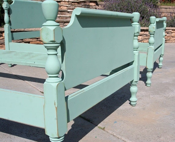 2 Vintage Twin Beds Painted and Distressed in Beach Glass By Foo Foo La La