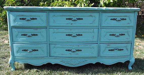 Vintage Chic 9 drawer dresser/ storage Painted and Distressed in Lady Blue By Foo Foo La La