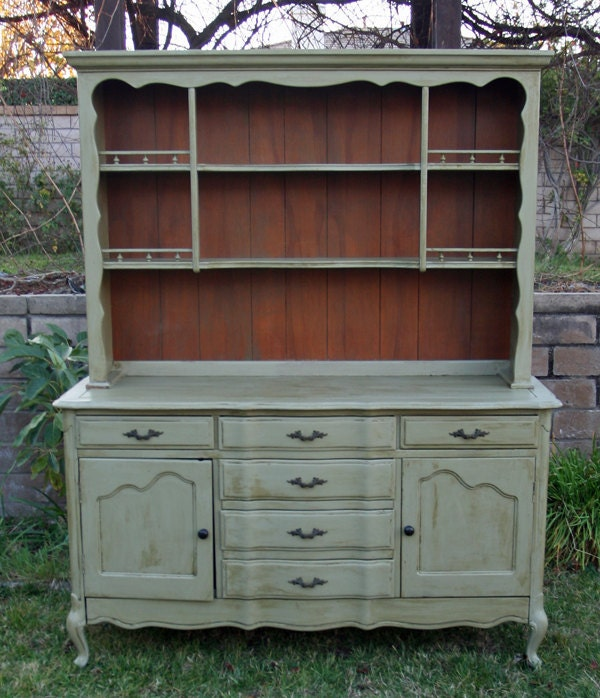 Kitchen China Cabinet Hutch: Vintage French China Hutch In Olive Branch By Foo Foo La La
