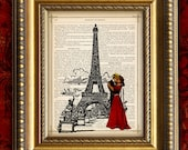 Upcycled Recycled Book Page Vintage Art Print PARIS LOVERS Antique 1881 Book Page art print or 1897 Dictionary Page art print