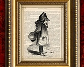SLY FOX Vintage Art Print 8x10 recycled upcycled Antique 1885 Book Page or 1897 Dictionary Page