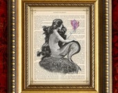 MERMAID with PINK SHELL Vintage Dictionary Art Print 8x10 on Antique 1881 Book Page or Dictionary Page