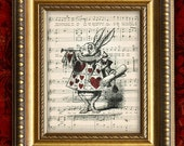 ALICE In WONDERLAND Vintage Art Print on Antique Sheet Music Page 8x10 The White Rabbit Upcycled Recycled Art Print