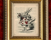 White Rabbit ALICE In WONDERLAND Vintage Art Print Book on Page Art Print or Upcycled Recycled Dictionary Page Art Print 8x10