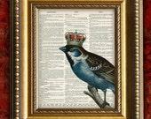 Dictionary Page Art Print BIRD w/ CROWN Vintage Home Decor Wall Decor Art Print on Antique Book Page Art Print 8x10
