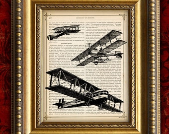 PLANES AIRPLANES Vintage Art Print 8x10  on Antique 1881 Book Page or 1897 Dictionary Page