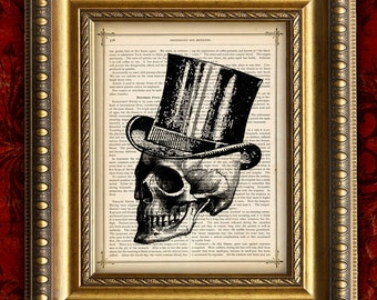 DIctionary Art Print Human SKULL in TOP HAT 3 Vintage Dictionary Page Art Print or Antique Book Page Art Print 8x10