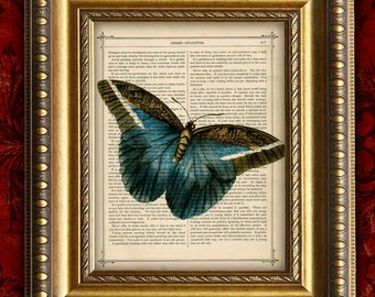 Dictionary Page Art Print Blue BUTTERFLY Antique Book Page Art Print 8x10